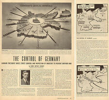 1945 WW 2 Print Article ' CONTROL OF GERMANY ' Allies post war plans MAPS 080517