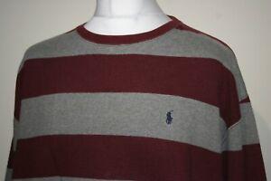 Ralph Lauren Crew Neck Sweatshirt -XL/XXL- Maroon/Grey - Striped Polo Jumper Top