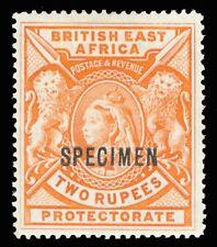 British East Africa 1897 QV 2r orange mint overprinted SPECIMEN. SG 93s.
