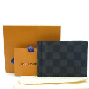 Authentic LOUIS VUITTON Pince Wallet Damier Graphite Card Holder N61000 #W502135