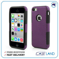 PURPLE/BLACK PLASTIC 2 IN 1 HYBRID PERFORATED MESH COVER CASE FOR IPHONE 5, 5S,