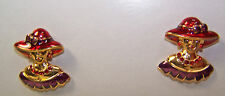 ENAMEL RED HAT LADY SHAPED PIERCED EARRINGS FOR RED HAT LADIES OF SOCIETY