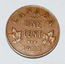Canada 1933 1 Cent Copper Coin One George V Canadian Penny