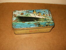 Ancienne boite bonbons caramel BENSONS candies toffee - QUEEN MARY paquebot boat