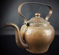 Ancienne grande théière cafetière en cuivre massif étamée à l'intérieure