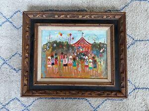 Chilmark Signed Oil Painting at The Fair Vintage Art Children Carnival Carousel