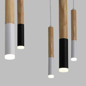 Wood LED Pendant Light 7W Hang Lamp Dining Living Room Kitchen Island Shop Bar