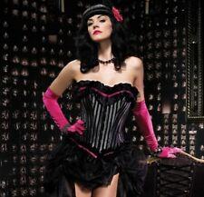 Leg Avenue Veronica Corset Black Gray Velvet Striped Pink Bow L Large