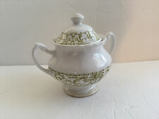 J & G Meakin China Classic Forum Green - LIDDED 2-HANDLED SUGAR BOWL