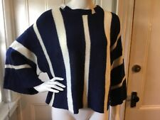 Sweewe Paris SWEATER Navy/Ivory Cropped 3/4 Sleeve Sweater Oversized S/M