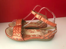 Clarks Metallic Orange Leather Ankle Strap Flat Sandals Size 4.5 EUR 37.5