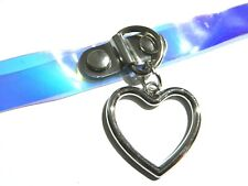 TRANSPARENT HOLOGRAPHIC CHOKER pastel goth Heart Ring cyber punk O4
