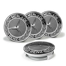 4 X Mercedes Benz 75mm Centre Wheel Caps Alloy BLACK Chrome AMG/SL/C/E/S/A
