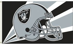 OAKLAND RAIDERS NFL HELMET LOGO FLAG 3x5 ft Print Polyester Header & Grommets
