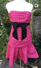 NWT Betsey Johnson Evening Size 8 Pink & Black Polka Dot Taffeta Strapless Dress
