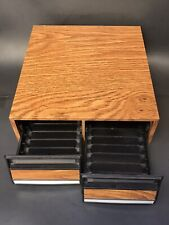 Vintage - Audio Cassette 2 Drawer - 28 Tape Storage Holder Organizer - Faux Wood