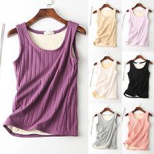 Women's Tank Top Knited Thermal Underwear Vest Elastic Lined Fleece Warm
