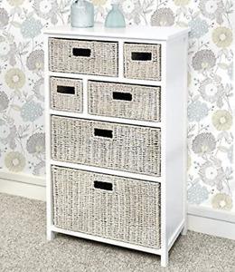 White cabinet with 6 whitewash storage baskets, Solid hallway bathroom cabinet