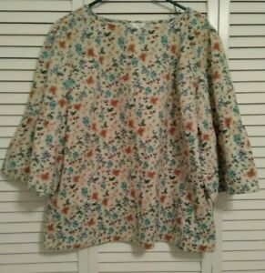 """WOMEN'S """"TIME AND TRU"""" MULTI-COLOR FLORAL BLOUSE,3/4 LENGTH BELL SLEEVES,XXL(20)"""
