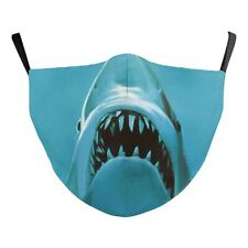 Blue Shark Jaws Mouth Face Covering Non Medical Washable Halloween Kids Size