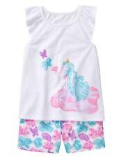 Gymboree Girls Nwt Spring Vacation Princess Butterfly Shortie summer Pjs Xxs 3