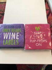Cocktail Napkins - 2 Assorted Whimsical Sayings NEW