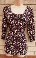 G21 RED BLACK CREAM ABSTRACT LEOPARD LONG SLEEVE BAGGY BLOUSE TUNIC TOP VEST 12