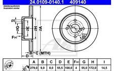 ATE Juego de 2 discos freno 279mm para TOYOTA COROLLA 24.0109-0140.1