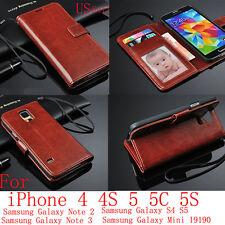 De Lujo De Cuero Flip Cartera Funda Bolsa Para Apple Iphone 4 4s 5 Samsung Note