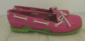 Crocs Boat Deck Shoe Pink Green 6W