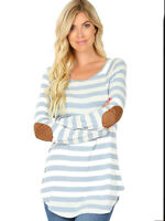 Plus Size Ash Blue Striped Long Sleeve Boat Neck Elbow Patch Tee Top 1x/2x/3x