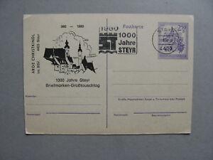 AUSTRIA, privat prestamped PC CTO 1980, 1000 years Steyr
