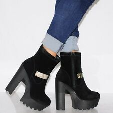 BLACK LACE UP MILITARY FASHION ANKLE BOOTS CLEATED PLATFORMS HIGH HEELS SHOES