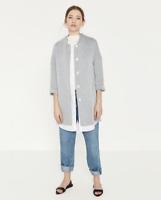 ZARA Blue THIN STRIPE JACKET Coat Size LARGE UK 12 Blogger