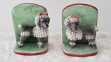 More details for vintage pair of italian hand modelled art ceramic book ends poodles cartoon dogs