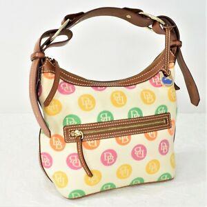 Dooney & Bourke Signature DB Multi-Colored Polka Dot Canvas Hobo Shoulder Bag