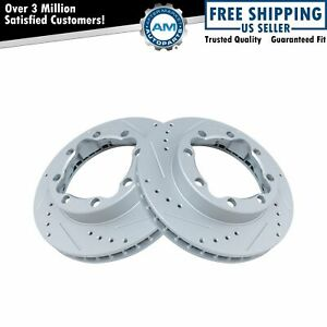 Performance Brake Rotor Drilled Slotted Coated Front Pair for GM Truck