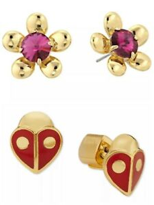 Kate Spade Sunset Blossoms Pink Floral Stud / Animal Party Ladybug Stud Earrings