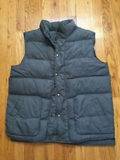 LANDS END Gray DOWN FILLED SNAP FRONT PUFFER VEST L 42-44
