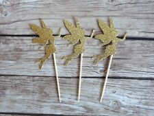 10x Fairy Fairies Cupcake Toppers / Secret Garden, Baby Shower, Gold CakeToppers