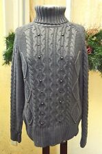 Womens XL Turtleneck Sweater Gray Chunky Cable Knit Studding L/S Aran Style