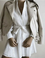 ZARA SS20 EMBROIDERED MINI DRESS OYSTER WHITE REF. 2731/053 M L XXL NWT