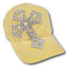 NWT Bling Cross Heavy Stitching Contrast Yellow Baseball Hat by Olive & Pique
