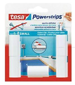 Tesa Powerstrips 5 Kabelschellen Befestigung Kabel Abnehmbare Träger Weiß
