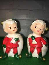 Vintage Christmas Elves National Potteries Company Made In Japan Candle Holders