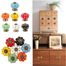 Pumpkin Shape Door Knobs Ceramic Cabinet Drawer Wardrobe Pull Handle Vintage