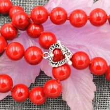 """12mm Red Marine Coral Necklace 18""""&Tibetan silver love clasps"""