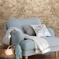 Wallpaper Brown faux rustic stone brick concrete plaster effect Modern Textured