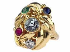 Art Deco 585 Gelb Gold Diamant Smaragd Rubin Saphir Damen Gemüse Ring