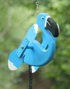 Blue Flamingo Mini Whirligigs Whirligig Windmill Yard Art Hand made from wood
